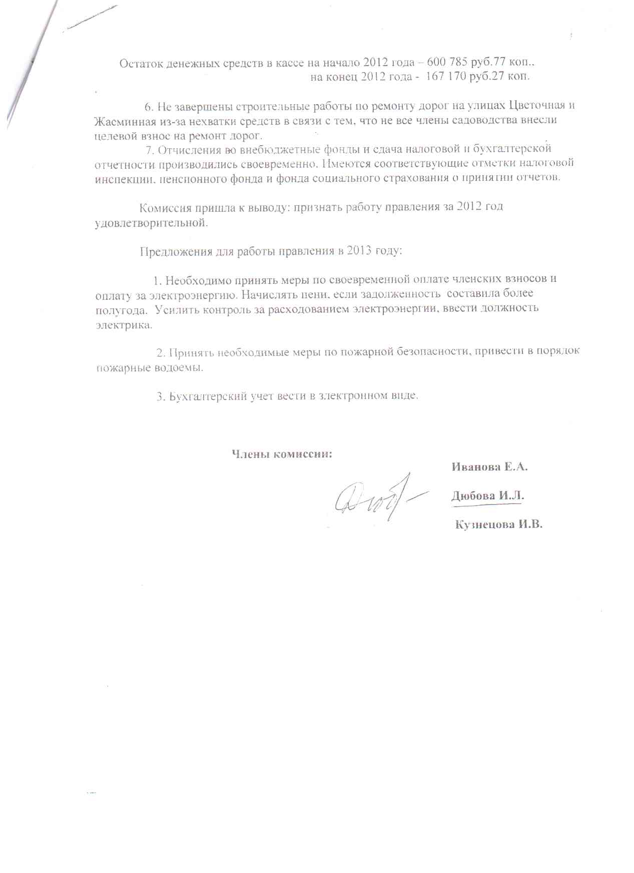 Акт ревизионной комиссии СНТ